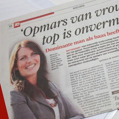 Opmars van vrouw aan de top Algemeen Dagblad - sept 2012