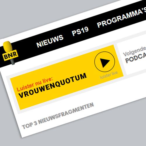 BNR radiobericht 'vrouwenquotum' Radio interview met Nina van Arum